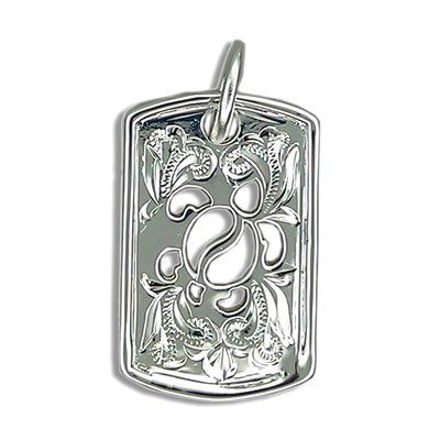 Fine Engraved Sterling Silver Men's Cut-In Hawaiian HONU with Shield Shaped Pendant