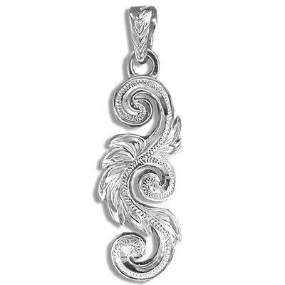 Fine Engraved Sterling Silver Men's Two Sided Hawaiian Scroll Pendant