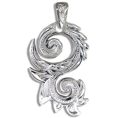 Fine Engraved Sterling Silver Fancy Men's Two Sided Hawaiian Scroll Pendant