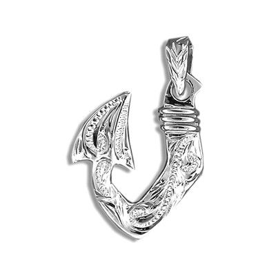 Fine Engraved Sterling Silver Men's Two Sided Hawaiian Tribal Fish Hook Pendant
