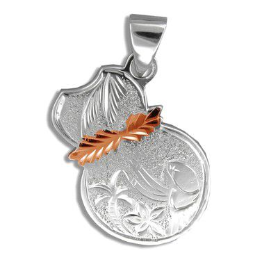 Sterling Silver Rose Gold Coated Kahiko Ipu Pendant (L)