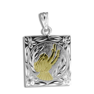 Sterling Silver Yellow Gold Coated Kahiko Moon Light Hula Dancer Pendant