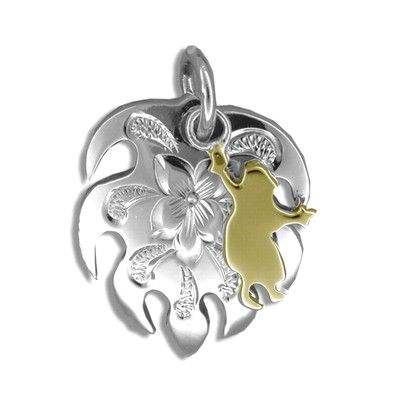 Sterling Silver Yellow Gold Coated Kahiko Monstera Leaf with Hula Dancer Pendant