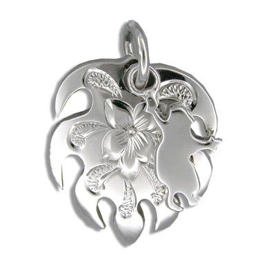 Sterling Silver Kahiko Monstera Leaf with Hula Dancer Pendant