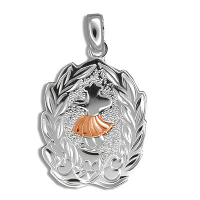 Sterling Silver Rose Gold Coated Kahiko Maile Hula Dancer Pendant