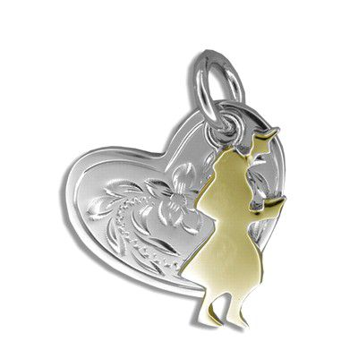 Sterling Silver Yellow Gold Coated Kahiko Heart with Hula Dancer Pendant