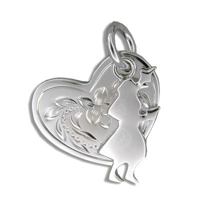 Sterling Silver Kahiko Heart with Hula Dancer Pendant