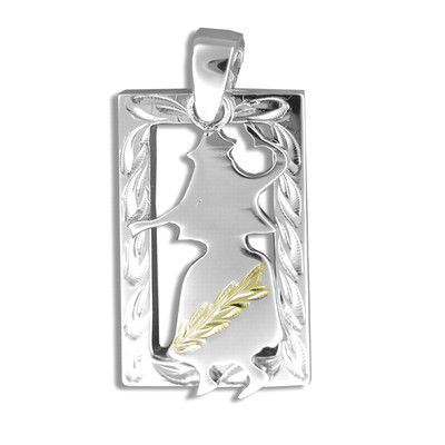 Sterling Silver Yellow Gold Coated Kahiko Hand-Carved Open Frame with Hula Dancer Pendant