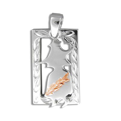Sterling Silver Rose Gold Coated Kahiko Hand-Carved Open Frame with Hula Dancer Pendant