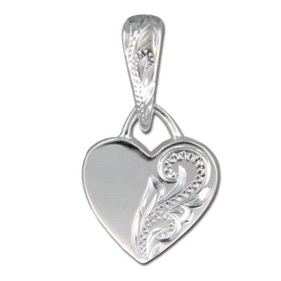 Sterling Silver Hawaiian Hand Carved Heart Pendant