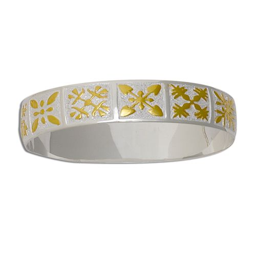 Sterling Silver Two Tone 10mm Hawaiian Mixed Quilt Design Kid's Bangle with Plain Edge