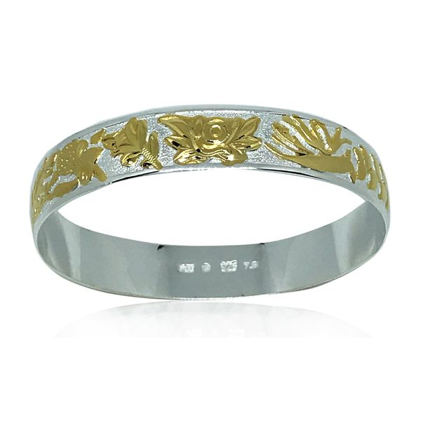 Sterling Silver Yellow tone Hawaiian Floral Bangle