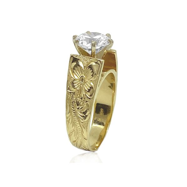 14KT Gold Hawaiian French Mount Ring with Cubic Zirconia