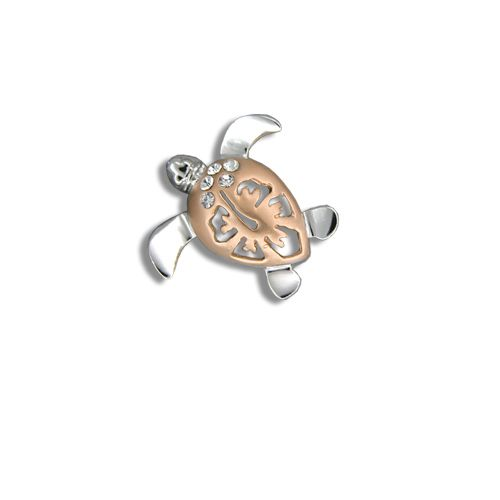 14kt Rose Gold Diamond Hawaiian Hibiscus Honu Pendant (S)