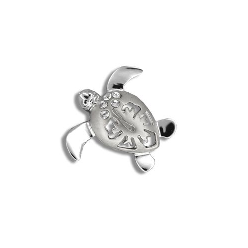 14kt White Gold Diamond Hawaiian Hibiscus Honu Pendant (S)