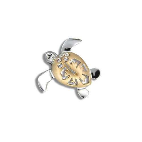 14kt Yellow Gold Diamond Hawaiian Hibiscus Honu Pendant (S)