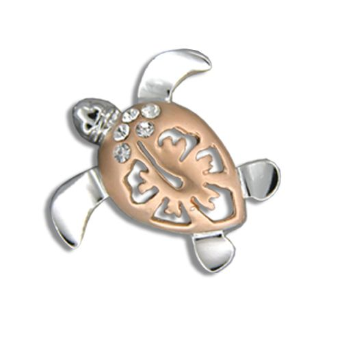 14k Rose Gold Diamond Hawaiian Hibiscus Honu Pendant (L)