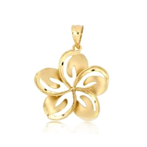 14KT Yellow Gold 30mm Cut in Plumeria Pendant (L)