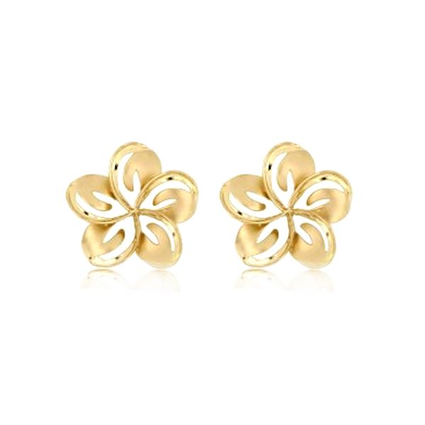 14KT Yellow Gold 14mm Cut in Plumeria Stub Earrings (S)