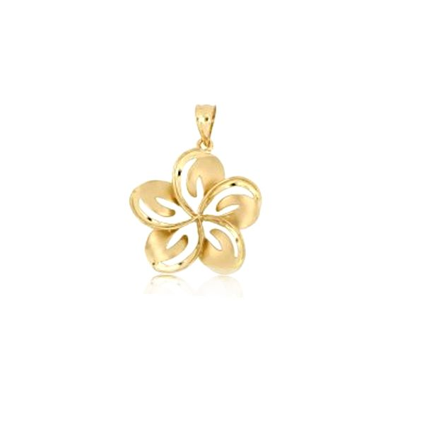 14KT Yellow Gold 14mm Cut in Plumeria Pendant (S)