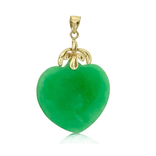 14KT Yellow Gold Hawaiian Palm Tree Bail with Peach Shaped Green Jade Pendant