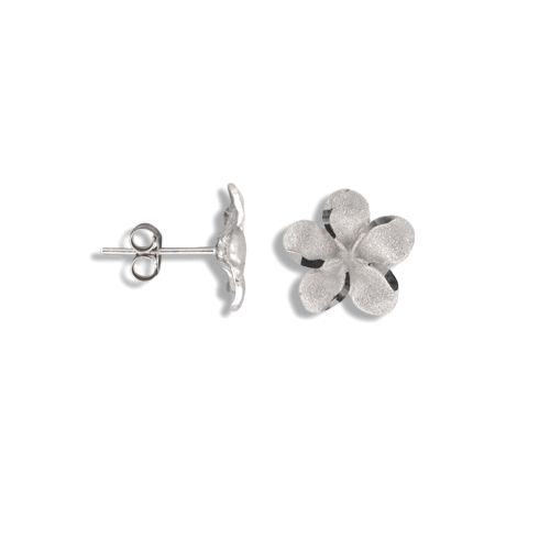 14kt White Gold 10mm Plumeria Pierced Earrings