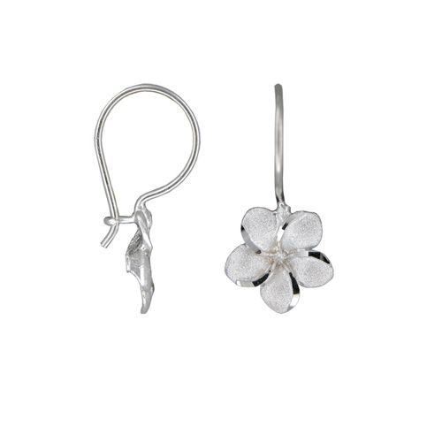 14kt White Gold Hawaiian Plumeria Wire Level Earrings