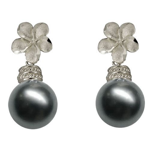 14KT White Gold Hawaiian 8mm Plumeria Tahitian Black Pearl Earrings