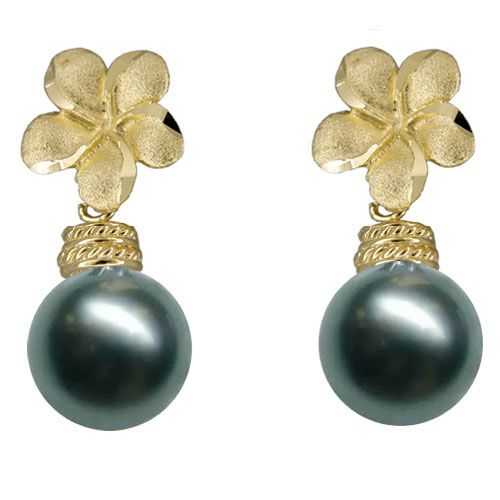 14KT Yellow Gold Hawaiian 10mm Plumeria Tahitian Black Pearl Earrings