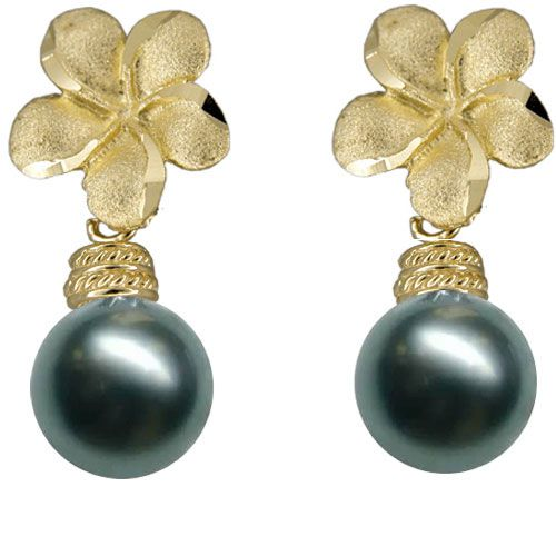 14KT Yellow Gold Hawaiian 12mm  Plumeria Tahitian Black Pearl Earrings