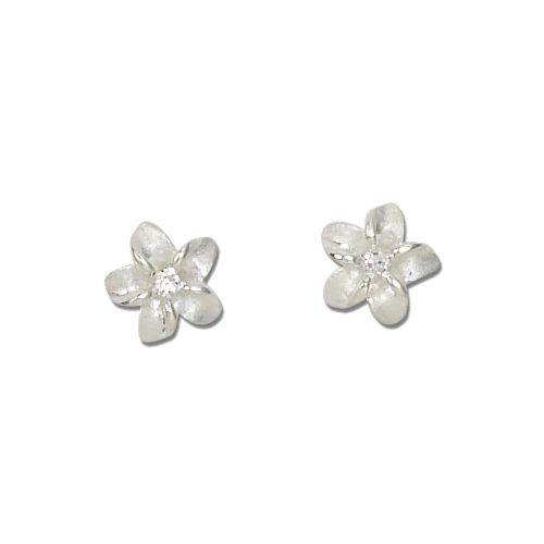 Sterling Silver 10MM White Sand Plumeria with Clear CZ Earrings