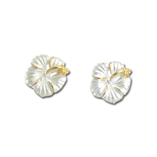 Sterling Silver Two Toned 15mm Hibiscus Flower Post Earrings