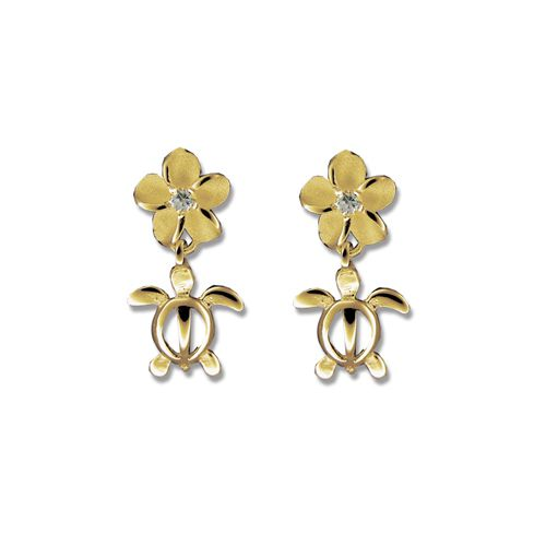 14kt Yellow Gold Cut-Out Hawaiian Mini HONU with Plumeria Earrings