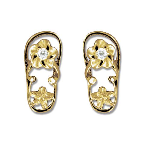 14kt Yellow Gold Hawaiian Plumeria Design with CZ Slipper Earrings