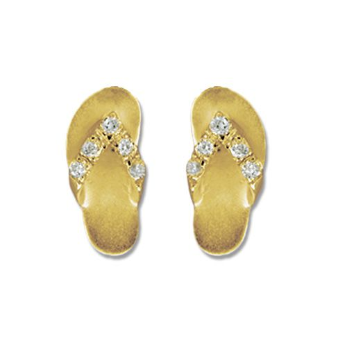 14kt Yellow Gold Hawaiian Slipper with CZ Earrings