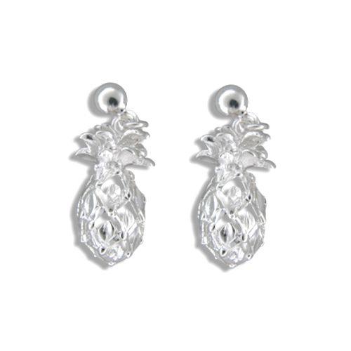 Sterling Silver Hawaiian (M) Pineapple Dangling Earrings
