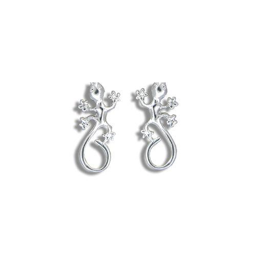 Sterling Silver Hawaiian Gecko Stud Earrings