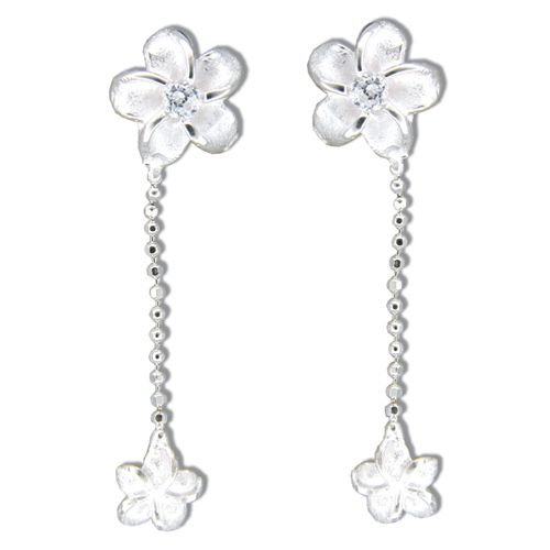 Sterling Silver Plumeria with Clear CZ Dangling Earrings