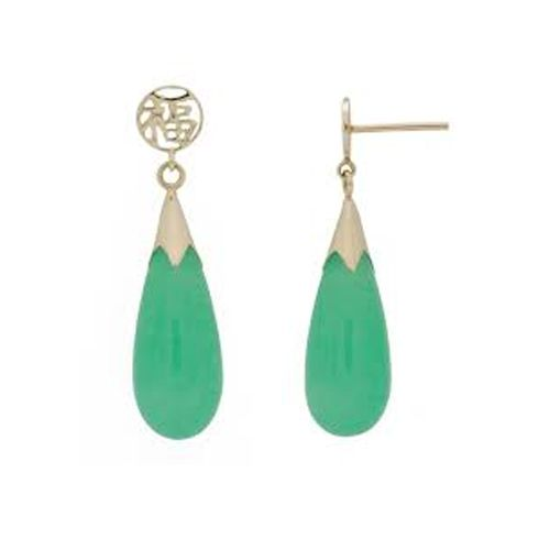 14KT Yellow Gold Chinese Good Fortune Teardrop Shaped Green Jade Earrings