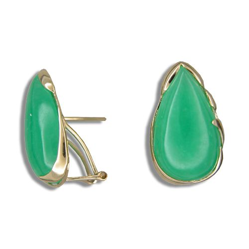 14KT Yellow Gold Green Jade Tear Drop French Clip Earrings