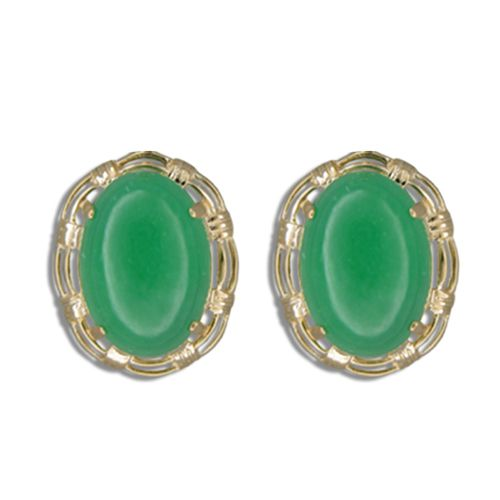 14KT Gold Cut-In Rope Design with Oval Shaped Green Jade French Clip Earrings