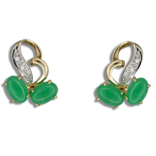14KT Yellow Gold Heart and Cherry Shaped Green Jade with Diamond Post Earrings
