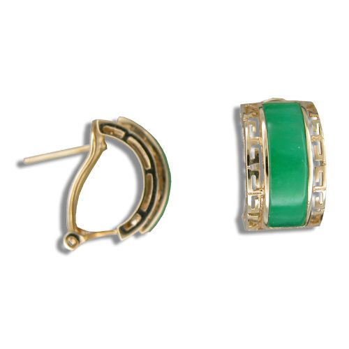 14KT Yellow Gold Cut In Chinese Pattern with Green Jade Half-Hoop French Clip Earrings
