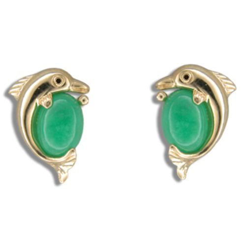 14KT Yellow Gold Dolphin with Green Jade Post Earrings