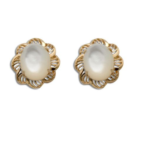 14KT Yellow Gold Cut-Out Flower Design with Oval Shaped MOP (Mother of Pearl Shell) Earrings