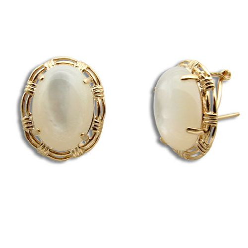 14KT Gold Cut-In Rope Design with Oval Shaped MOP (Mother of Pearl Shell) French Clip Earrings