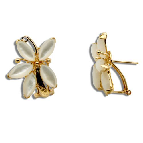 14KT Yellow Gold MOP (Mother of Pearl Shell) 5 Petals Flower French Clip Earrings