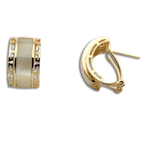 14KT Yellow Gold Cut In Chinese Pattern with MOP (Mother of Pearl Shell) Half-Hoop French Clip Earrings