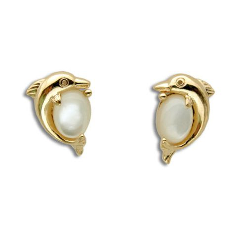 14KT Yellow Gold Dolphin with MOP (Mother of Pearl Shell) Post Earrings