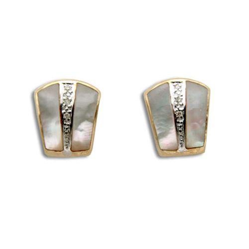 14KT Yellow Gold Bar with Diamond and MOP (Mother of Pearl Shell) Earrings